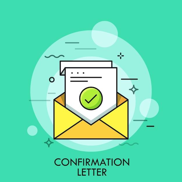 Foglio di carta con segno di spunta verde all'interno della busta. concetto di conferma, lettera di accettazione o approvazione, verifica scritta Vettore Premium
