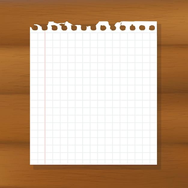 Foglio di carta su fondo in legno, Vettore Premium