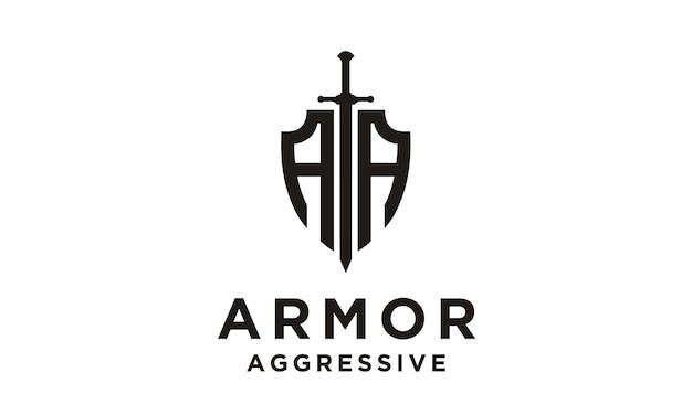 Scudo / armatura / logo iniziale aa Vettore Premium