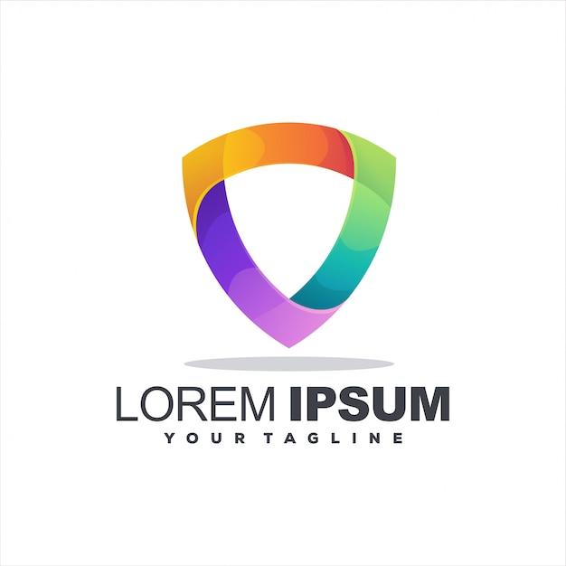 Scudo design del logo a colori sfumati Vettore Premium