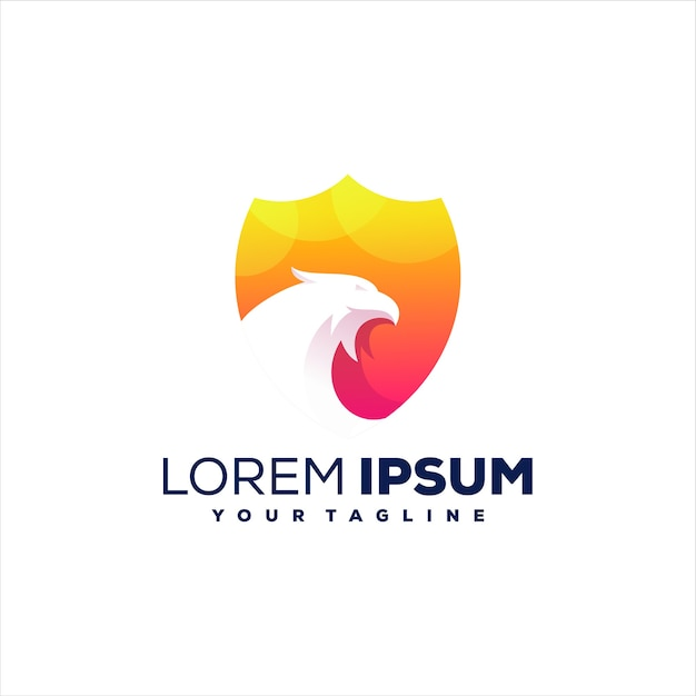 Scudo falco logo design gradiente Vettore Premium