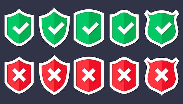 Icona scudo in stile piatto alla moda isolato, scudo con un segno di spunta al centro. protezione icona concetto sito web design, logo, app, interfaccia utente Vettore Premium