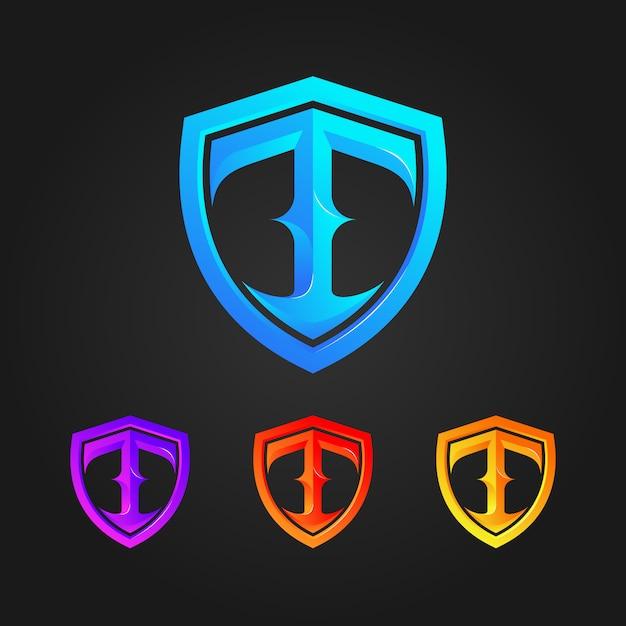 Logo scudo lettera t. Vettore Premium