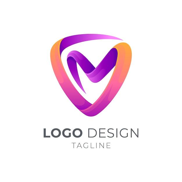 Scudo + lettera vm / mv logo concept Vettore Premium