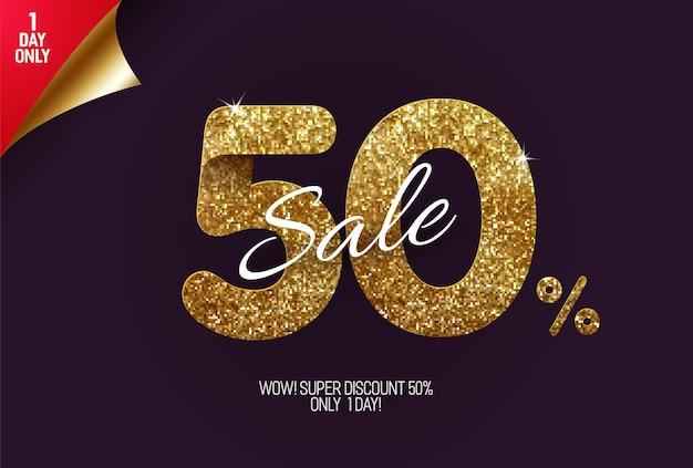 Saldi dorati brillanti realizzati con quadratini glitter oro, vendita in stile pixel e offerte di sconto. Vettore Premium
