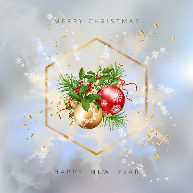 Sfondo di natale splendente con cornice dorata e decorazioni festive Vettore Premium
