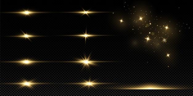 Stelle dorate brillanti isolate. effetti, abbagliamento, linee, glitter, esplosione, luce dorata. Vettore Premium
