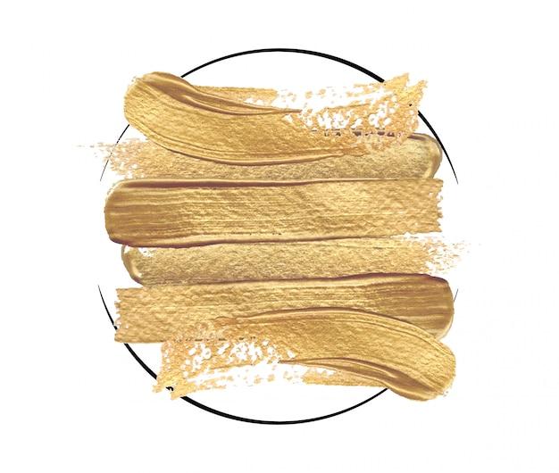Tratti di pennello d'oro lucido in una cornice rotonda su uno sfondo bianco. Vettore Premium