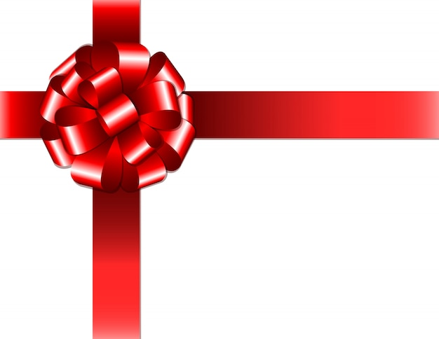 Nastro rosso lucido con fiocco su sfondo bianco. illustrazione Vettore Premium