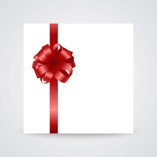 Fiocco in raso rosso lucido con nastro su sfondo bianco Vettore Premium