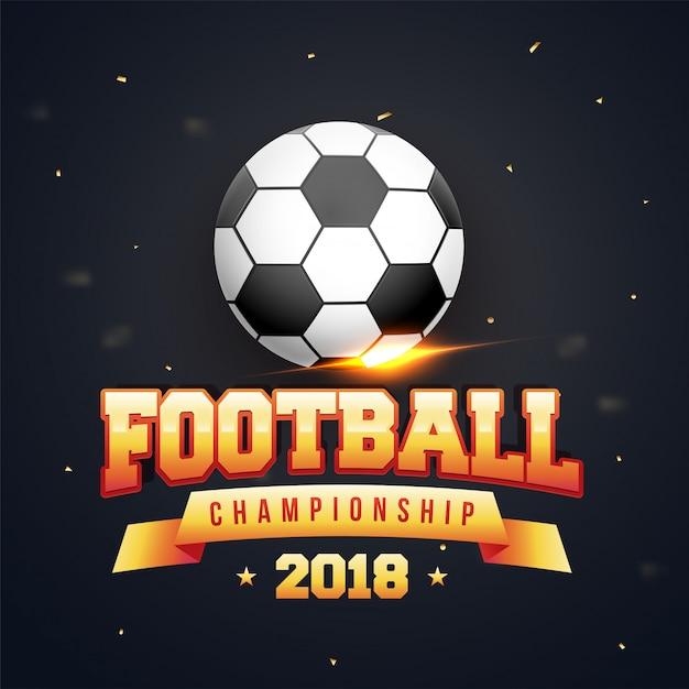 Pallone da calcio lucido e campionato di calcio testo dorato su sfondo grigio. Vettore Premium