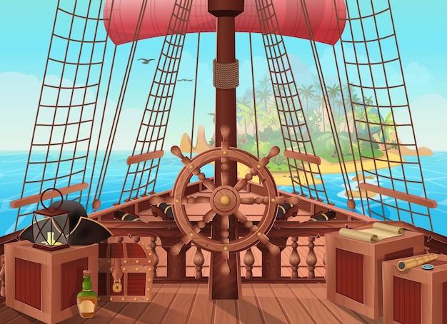 Nave di pirati con un'isola all'orizzonte. illustrazione della vista ponte barca a vela. sfondo per giochi e applicazioni mobili. battaglia navale o concetto di viaggio. Vettore Premium