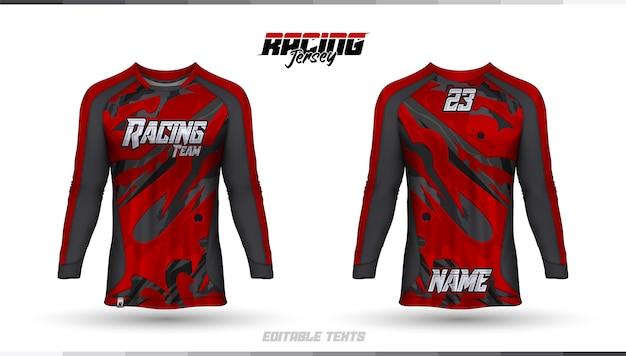 Modello di camicia, design della maglia da corsa, maglia da calcio Vettore Premium