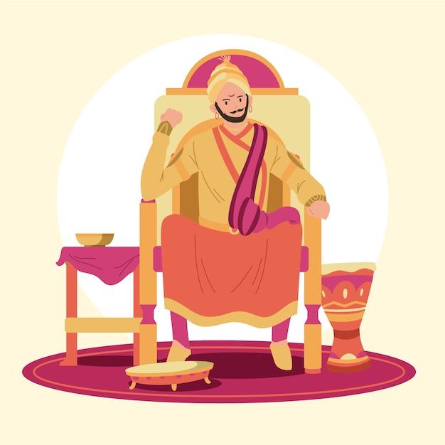 Concetto di illustrazione shivaji maharaja Vettore Premium