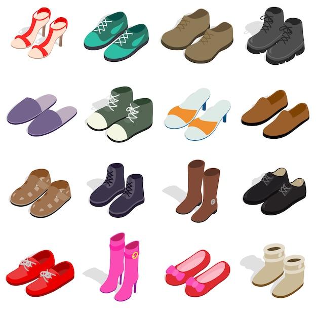 Le icone della scarpa hanno messo nello stile isometrico 3d. le scarpe delle donne e degli uomini hanno messo l'illustrazione di vettore della raccolta Vettore Premium