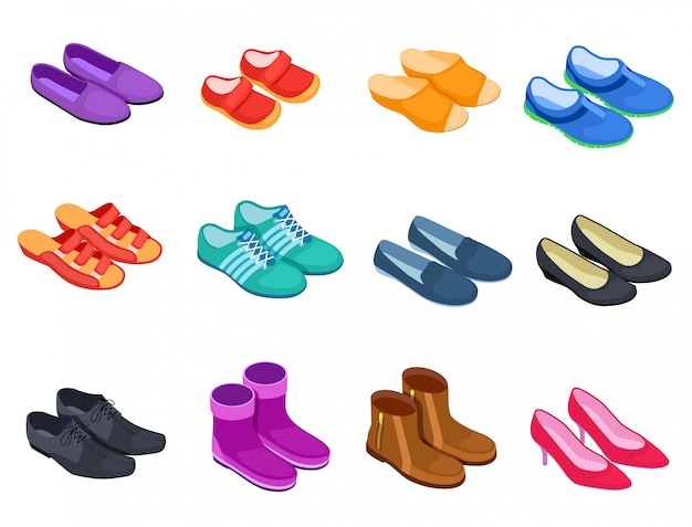 Scarpa isometrica. pantofole calzature sportive sneakers scarpe maschili e femminili, stivali calzature icone set Vettore Premium