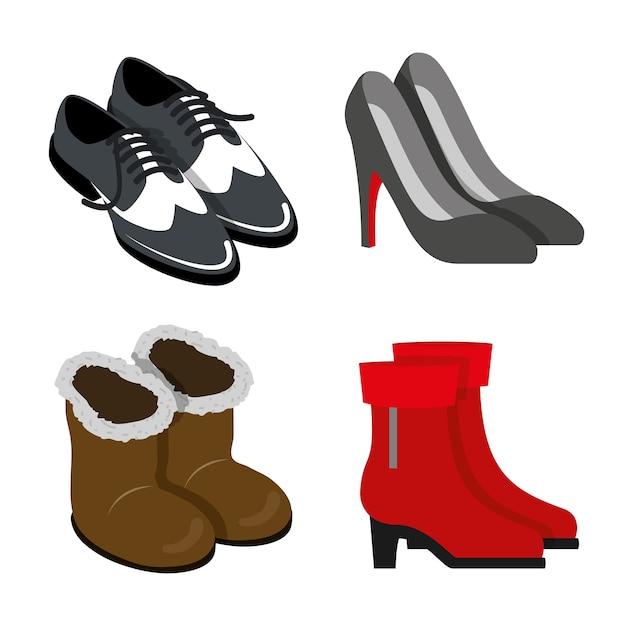 Scarpe calzature stivali moda body oggetto element flat Vettore Premium