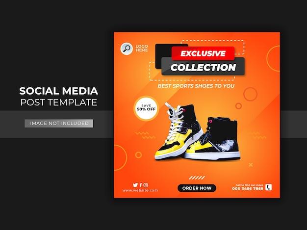 Modello di post sui social media di vendita di scarpe Vettore Premium