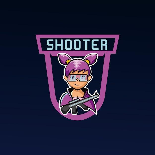Squadra di gioco di esports mascotte ragazza sparatutto Vettore Premium