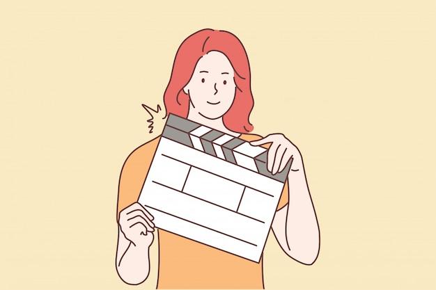Riprese, film, concetto di assistenza Vettore Premium