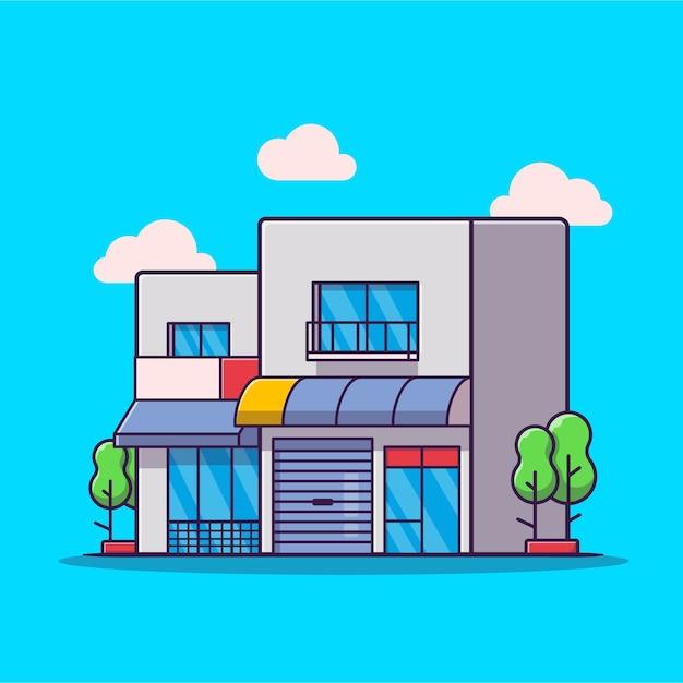 Illustrazione di vettore del fumetto della casa del negozio. vettore isolato di concetto della costruzione di affari. stile cartone animato piatto Vettore Premium