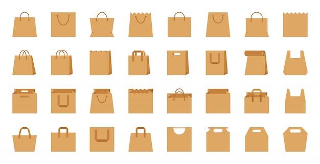 Borsa shopping, pacchetto eco mestiere di carta, set di icone del fumetto piatto accessorio negozio. Vettore Premium