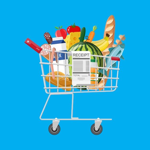 Carrello pieno di generi alimentari e ricevuta Vettore Premium