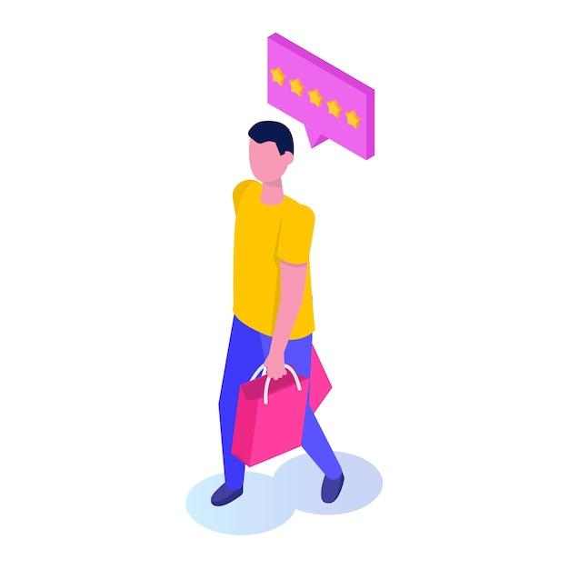 Shopping concetto isometrico con carattere Vettore Premium