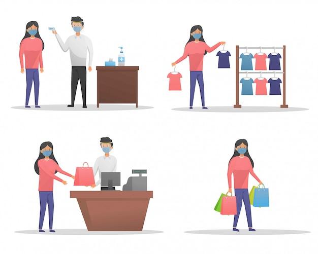 Shopping alla nuova illustrazione di stagione normale Vettore Premium