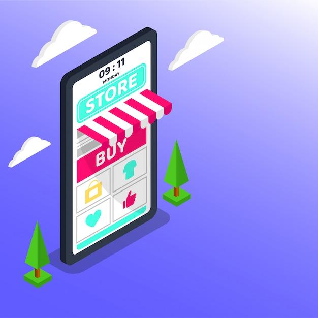 Acquisti online. grande marketing digitale e e-commerce per smartphone Vettore Premium