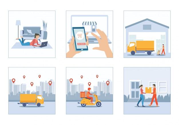 Shopping online a casa con servizio di consegna camion e scooter corriere set uomo Vettore Premium
