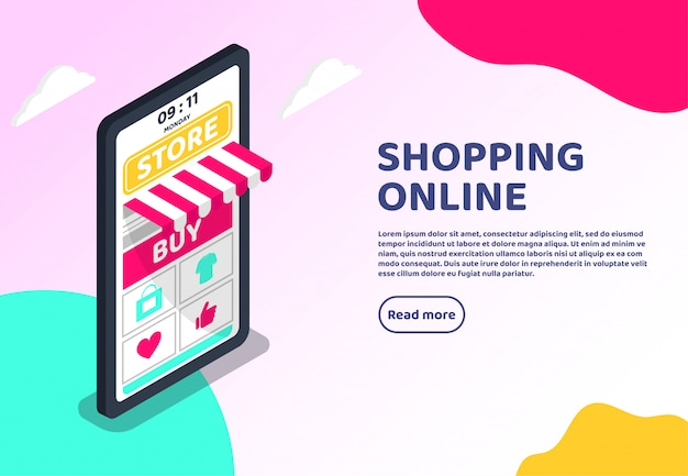 Concetto di web isometrico shopping online. grande marketing digitale per smartphone Vettore Premium