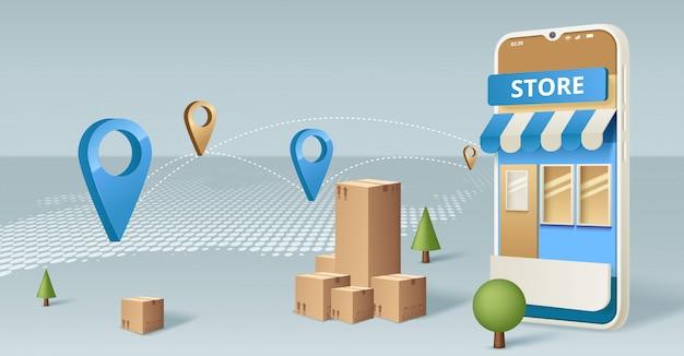 Acquisti online sul sito web o sul concetto di applicazione mobile marketing e marketing digitale. Vettore Premium