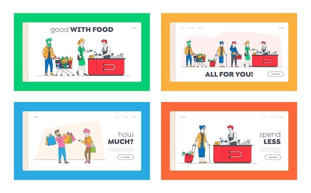 Coda della spesa nel set di modelli di pagina di destinazione del supermercato. Vettore Premium