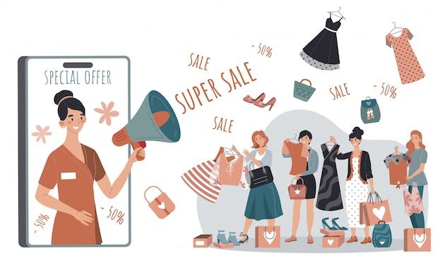 Campagna di vendita di acquisto nel negozio di moda donna, vestiti d'acquisto della gente al prezzo di sconto, illustrazione Vettore Premium