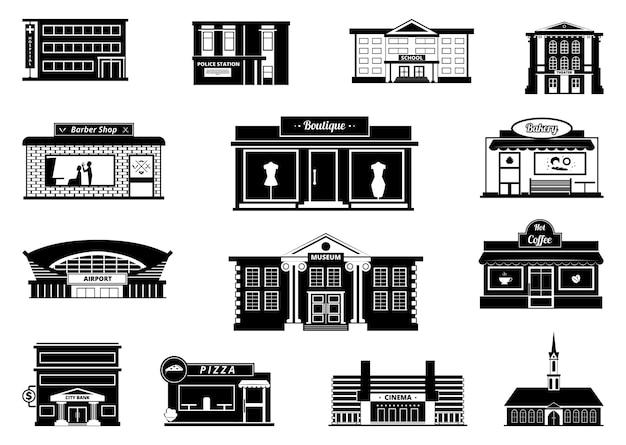 Negozi, mercati e altri edifici comunali. illustrazioni urbane monocromatiche. negozio di costruzione e mercato, negozio e panetteria Vettore Premium