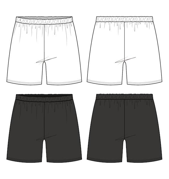 Pantaloncini pantaloni moda piatta modello di disegno tecnico Vettore Premium