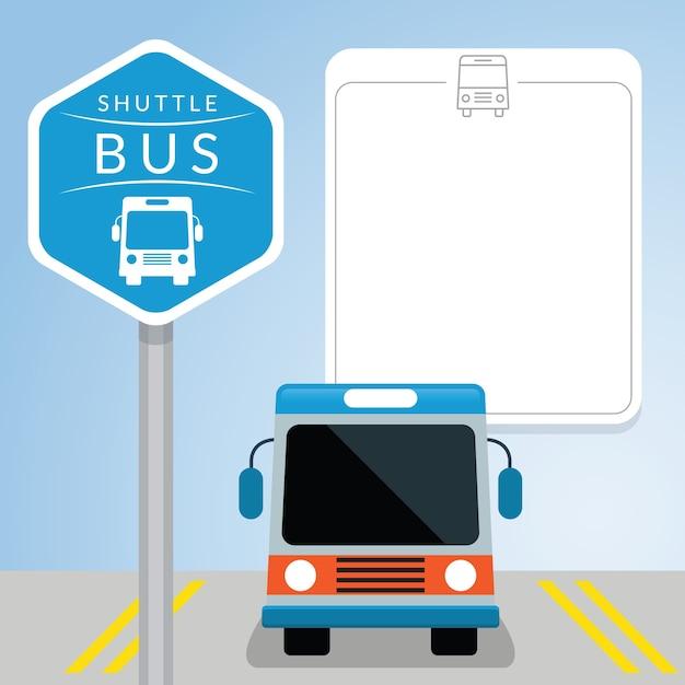 Bus navetta con segno, vista frontale, uno spazio vuoto Vettore Premium