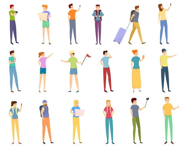 Set di icone turistiche, stile cartoon Vettore Premium