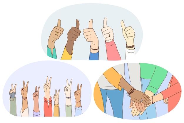 Lingua dei segni e dei gesti, concetto di espressione di emozione delle mani. Vettore Premium