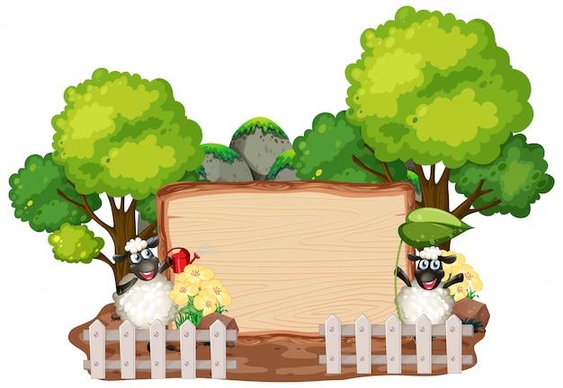 Modello del segno con gli animali nel fondo del giardino Vettore Premium