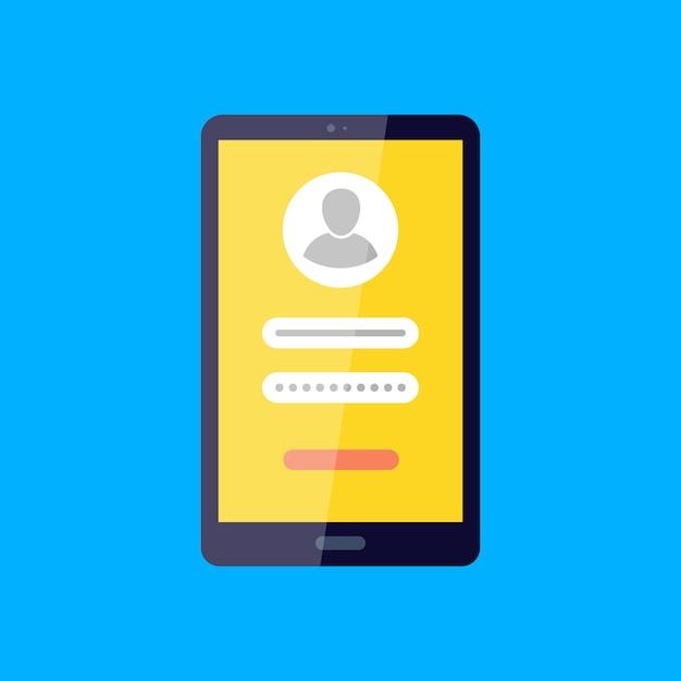 Accedi al tuo account social network accesso, password Vettore Premium
