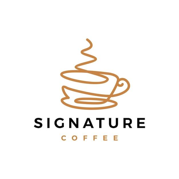 Firma del caffè una riga continua logo Vettore Premium