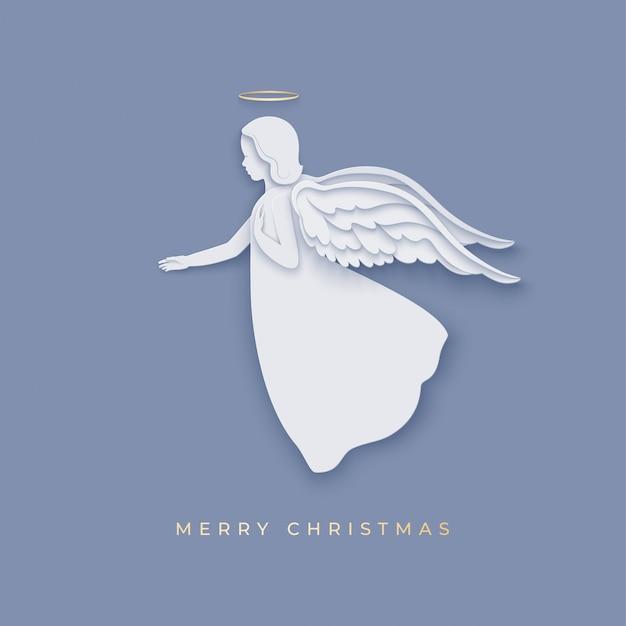 Silhouette di angelo in carta tagliata stile con ombra. auguri di buon natale Vettore Premium