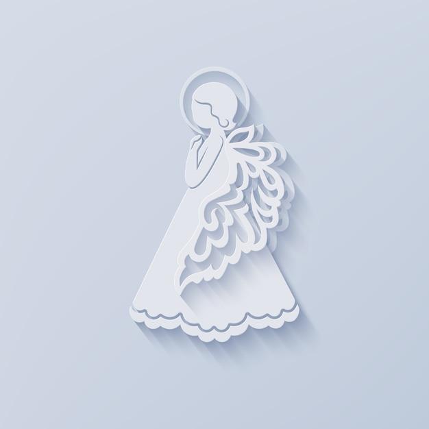 Silhouette di angelo in carta tagliata stile con ombra. Vettore Premium