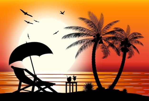Silhouette della spiaggia Vettore Premium