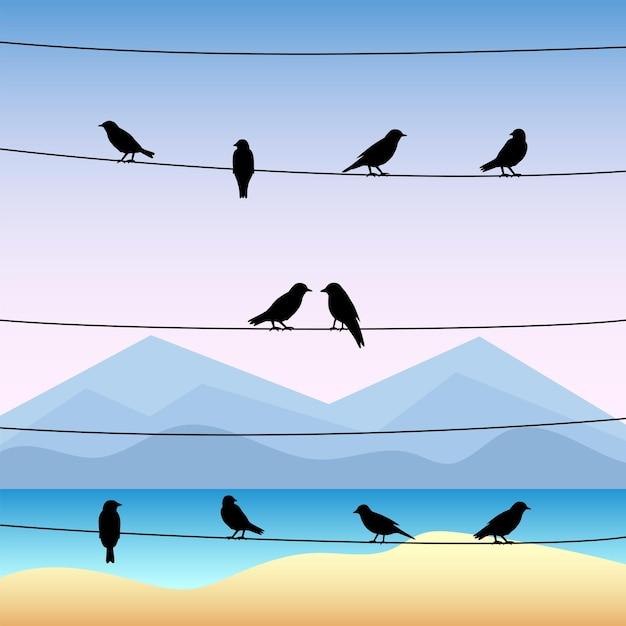 Sagoma di uccelli sui fili con paesaggio marino tropicale. Vettore Premium