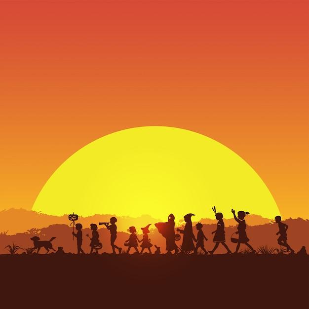 Sagoma di bambini che giocano dolcetto o scherzetto nella notte di halloween, illustrazione vettoriale Vettore Premium
