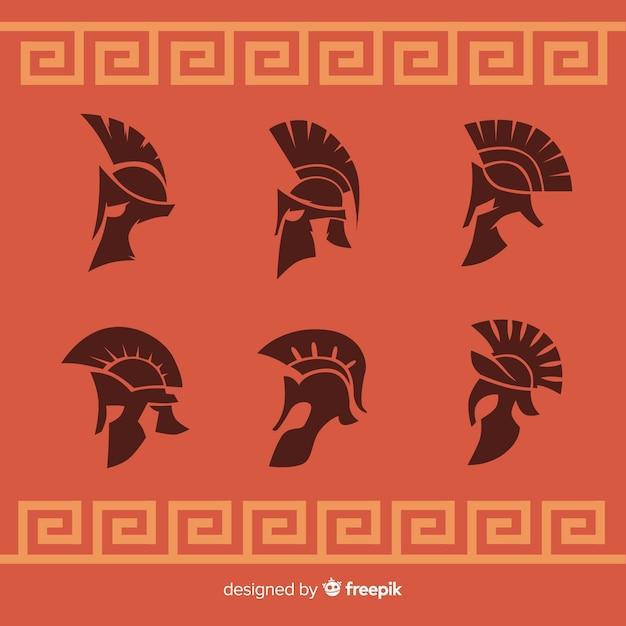 Collezione silhouette di caschi spartani Vettore Premium
