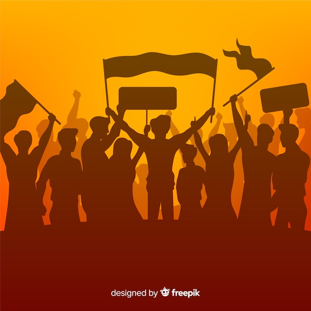 Silhouette folla di persone con bandiere e striscioni in una manifestazione Vettore Premium